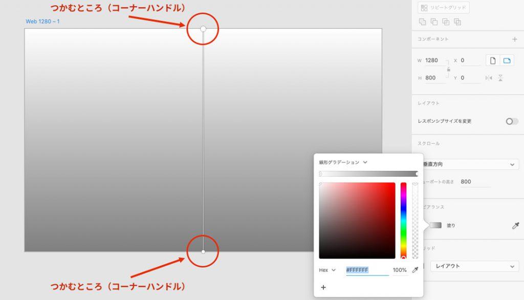 グラデーションの角度調整はコーナーハンドルを使う