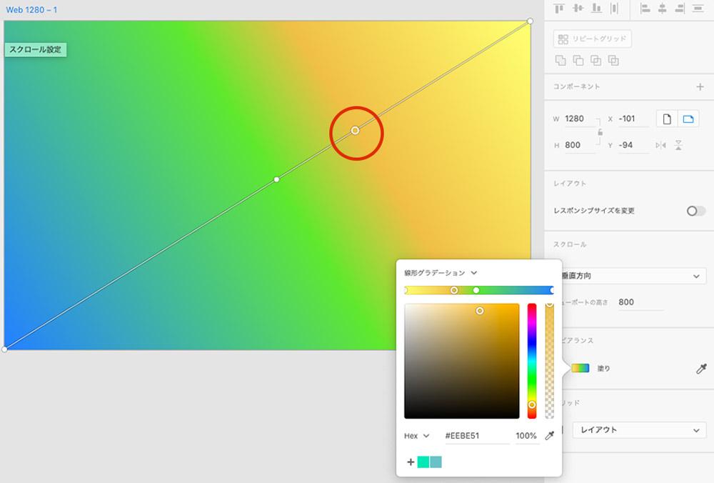 グラデーションエディタ上にオレンジ色の分岐点を追加