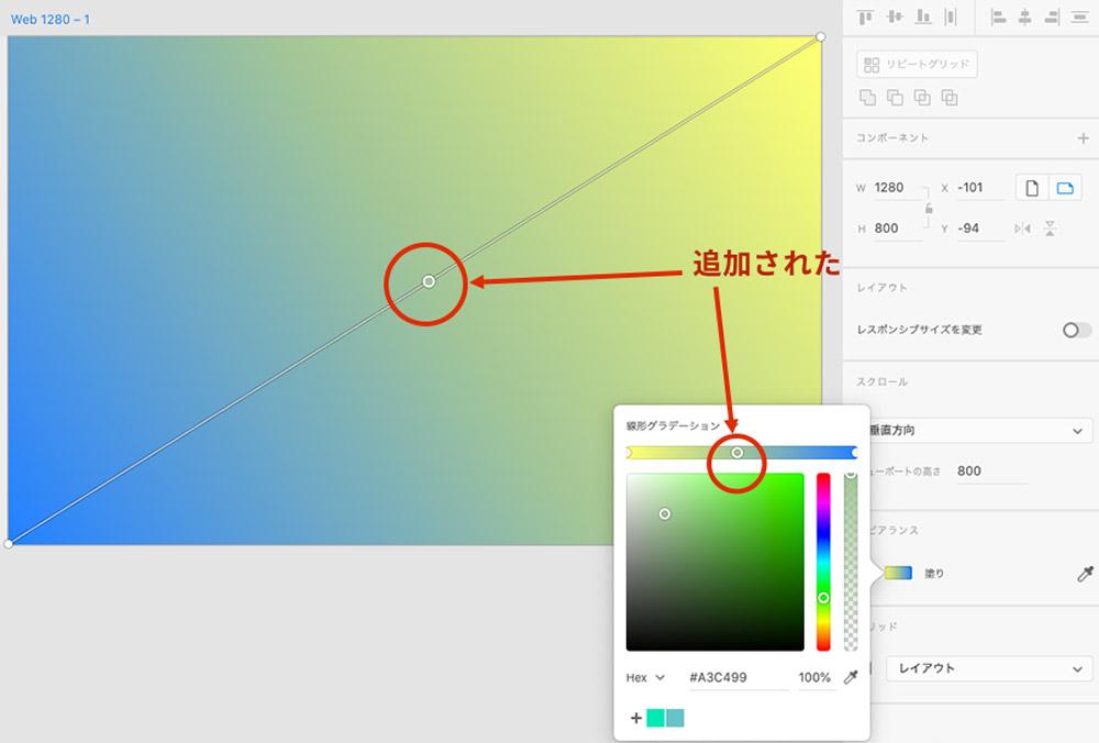 グラデーションエディタ上にカラー分岐点が追加される